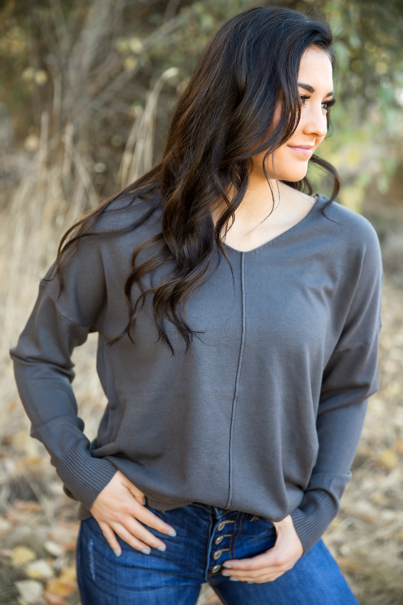 Getting Back Together Pullover Sweater in Charcoal