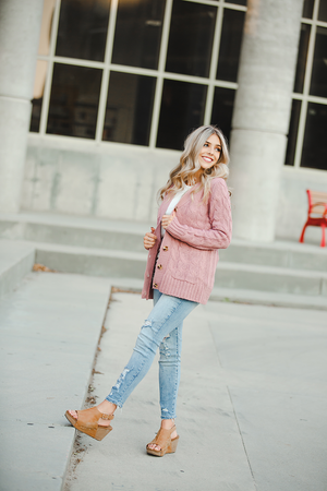 Pick Up the Pieces Button Up Sweater in Ash Rose