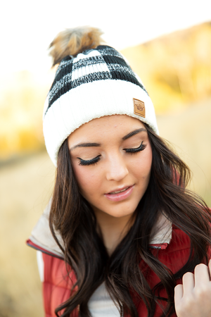 Knit Pom Beanie in Black and White Check