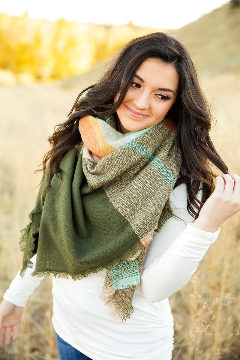 Plaid Blanket Scarf in Mint, Oatmeal, Mustard and Dusty Orange