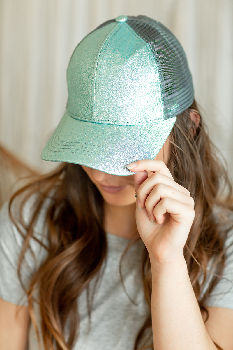 CC Mesh Ponytail Baseball Cap in Sparkle Aqua