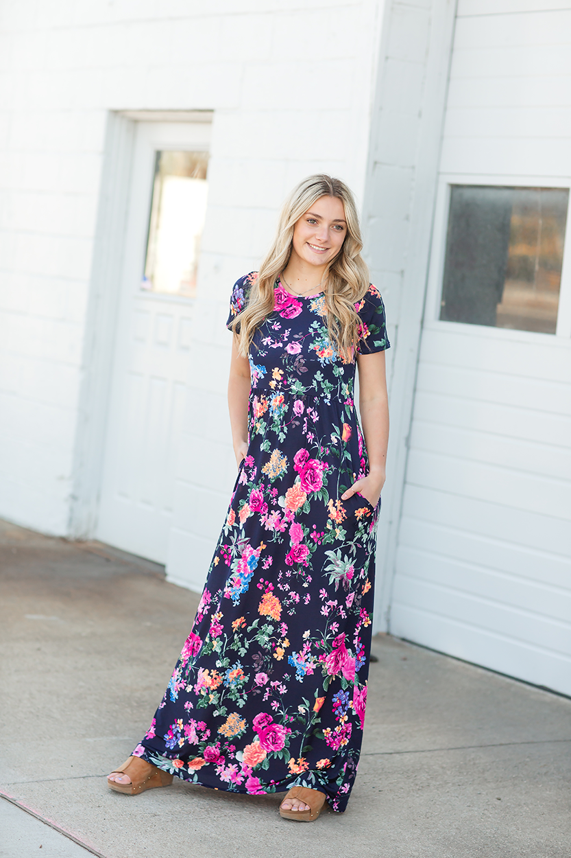 A While Away Floral Maxi Dress in Navy