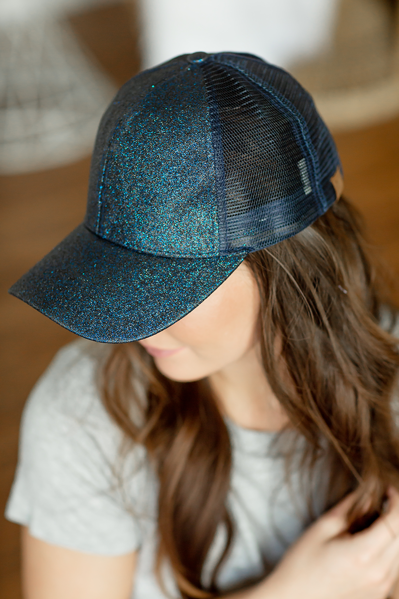CC Mesh Ponytail Baseball Cap in Sparkle Navy