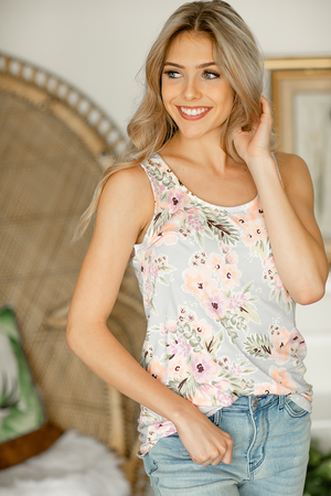 On To Tonight Floral Tank Top in Lilac