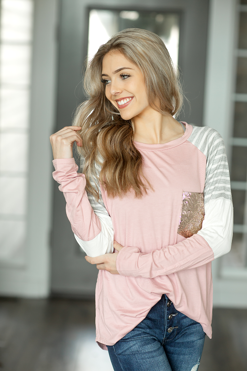 All This Time Blush Top with Sequin Pocket