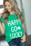 Happy Go Lucky Graphic Tee in Green