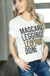 Mascara, Leggings, Leopard, Done Graphic Tee in Cream