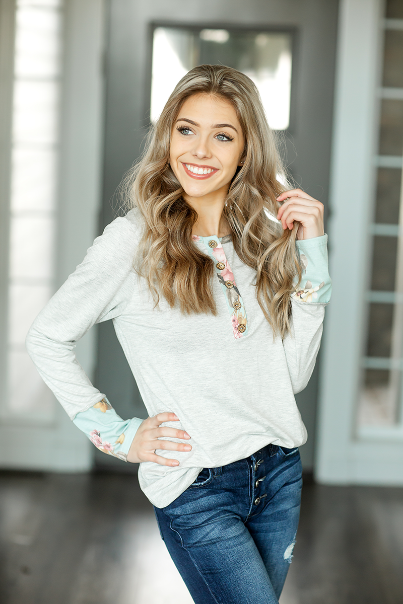 Good One Left Heather Gray Top with Floral