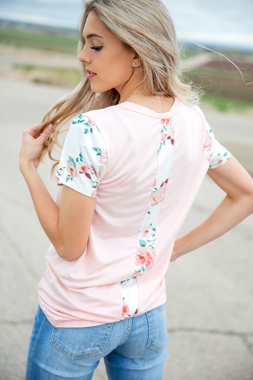 Long Time Ago Floral Top in Blush