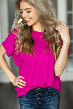 Speak Softly Top in Magenta