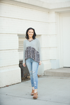 Lost Together Criss Cross Heather Grey with Animal Print Top