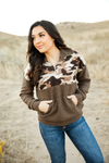 Road Trip Cuddly Camo Quarter Zip in Mocha