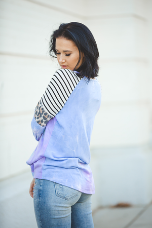Night Ride Tie Dye Top with Stripes and Animal Print Detail