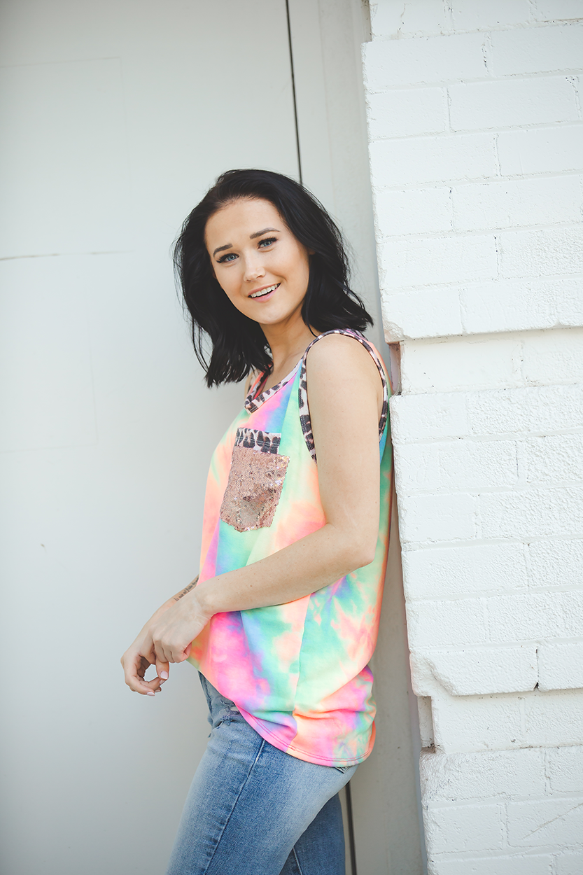 Life is a Carnival Double Pocket Tie Dye Tank