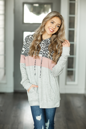 Won't Give Up Color Block Hoodie in Animal Print, Pink, and Heather Gray