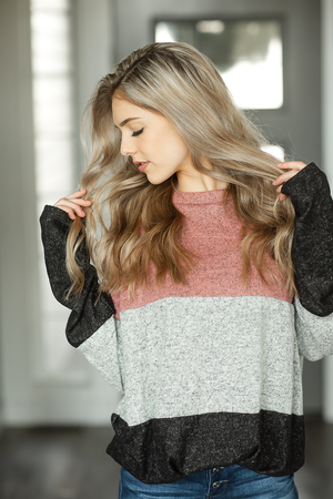 One Good Reason Color Block Top in Mauve