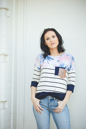 Love and Happiness 3/4 Sleeve Navy Top With Tie Dye and Stripes