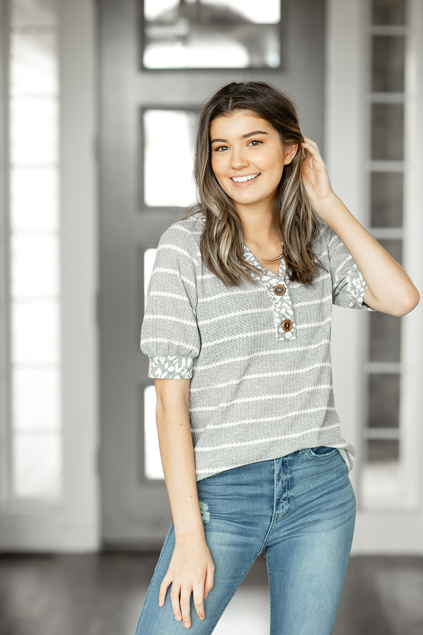 Perfect Timing Waffle Top in Gray Stripes