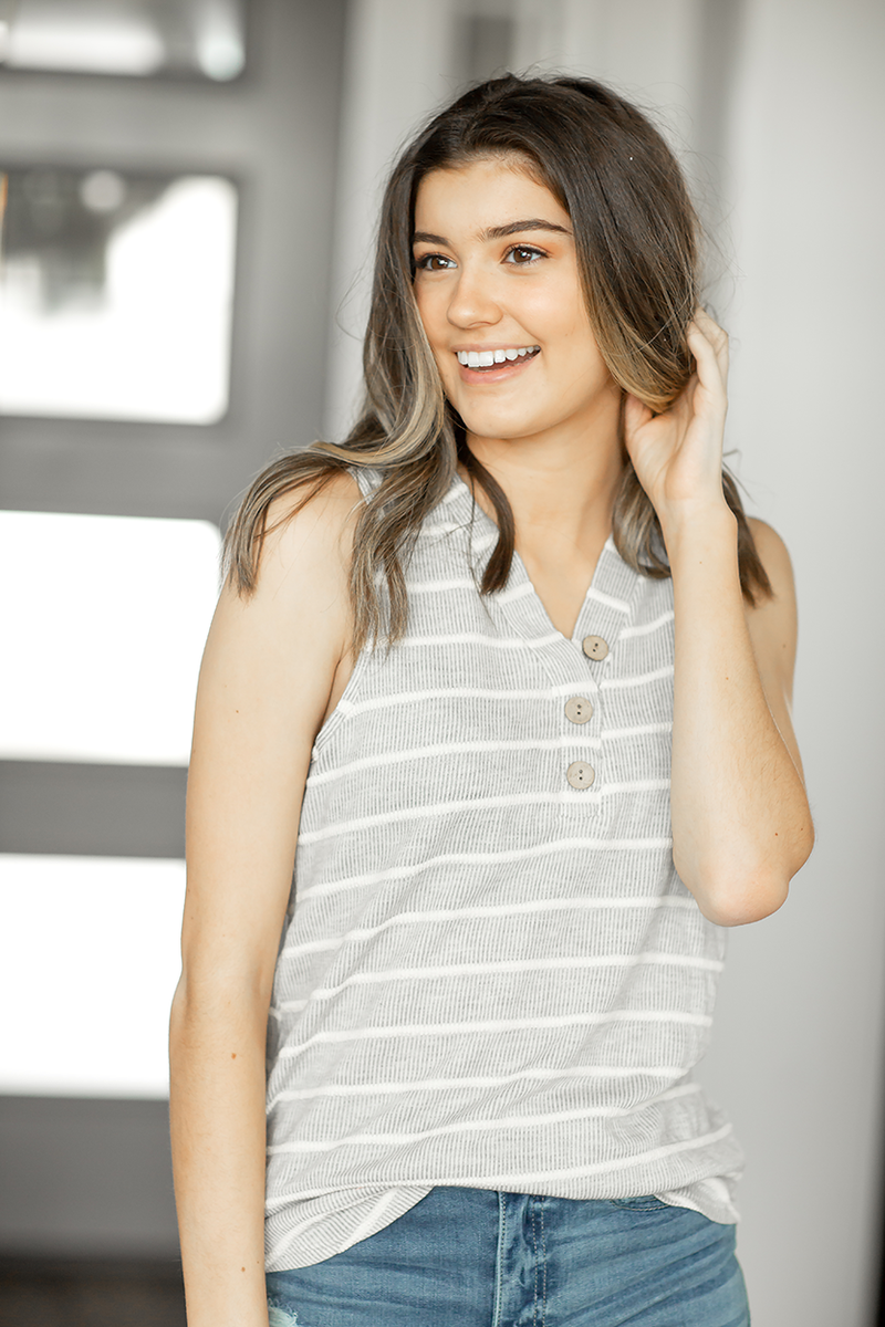 Vacation Dreaming Button Tank in Gray Stripes