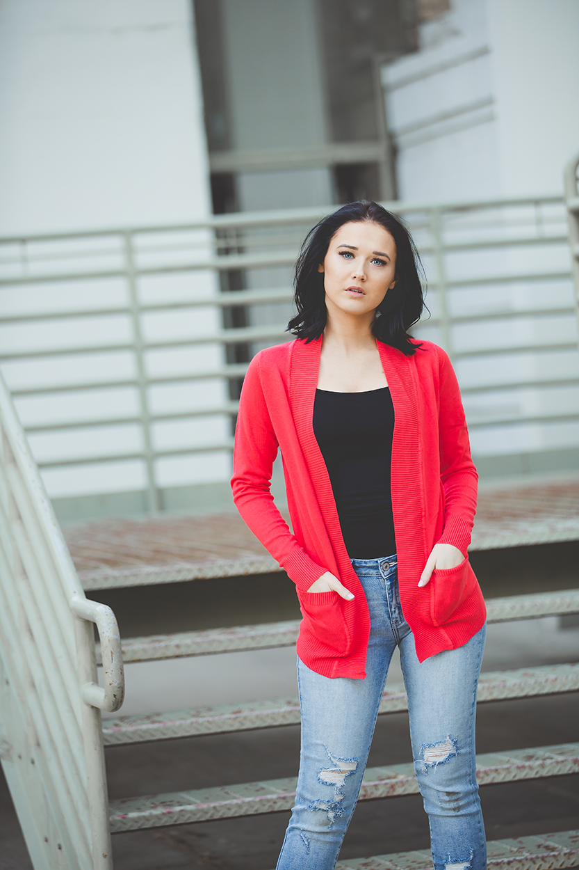 Everyday Cardigan in Hot Coral