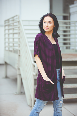 Only You Striped Plum Cardigan