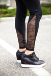 Lovin Life Black Leggings With Floral Lace Detail