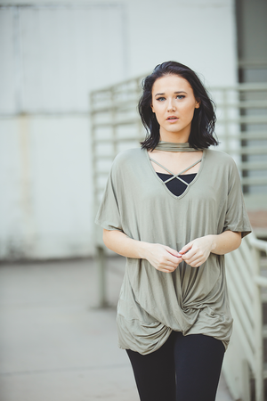 Moments In Love Sage Criss Cross Top with a Twist