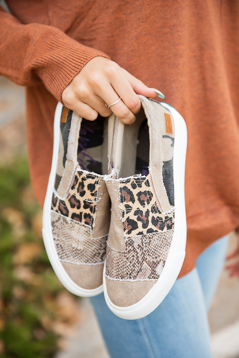 Blowfish Age of Love Slip On Sneaker in Tan Snake and Camo