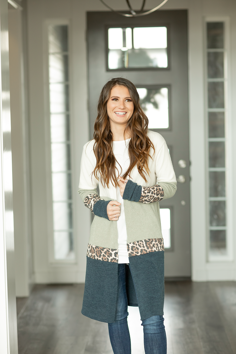 Drawn To You Color Block Duster Cardigan with Animal Print