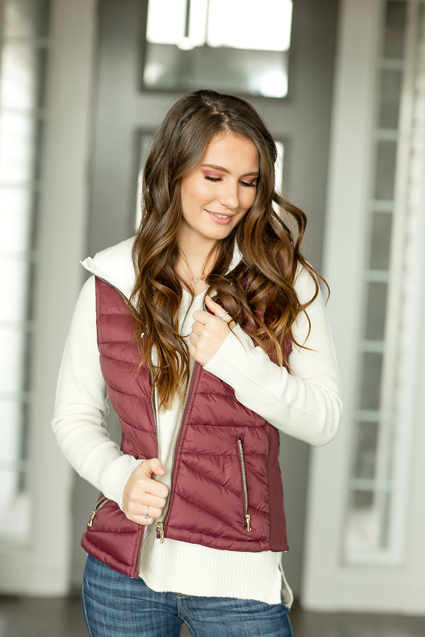 On the Way Reversible Vest in Burgundy and White