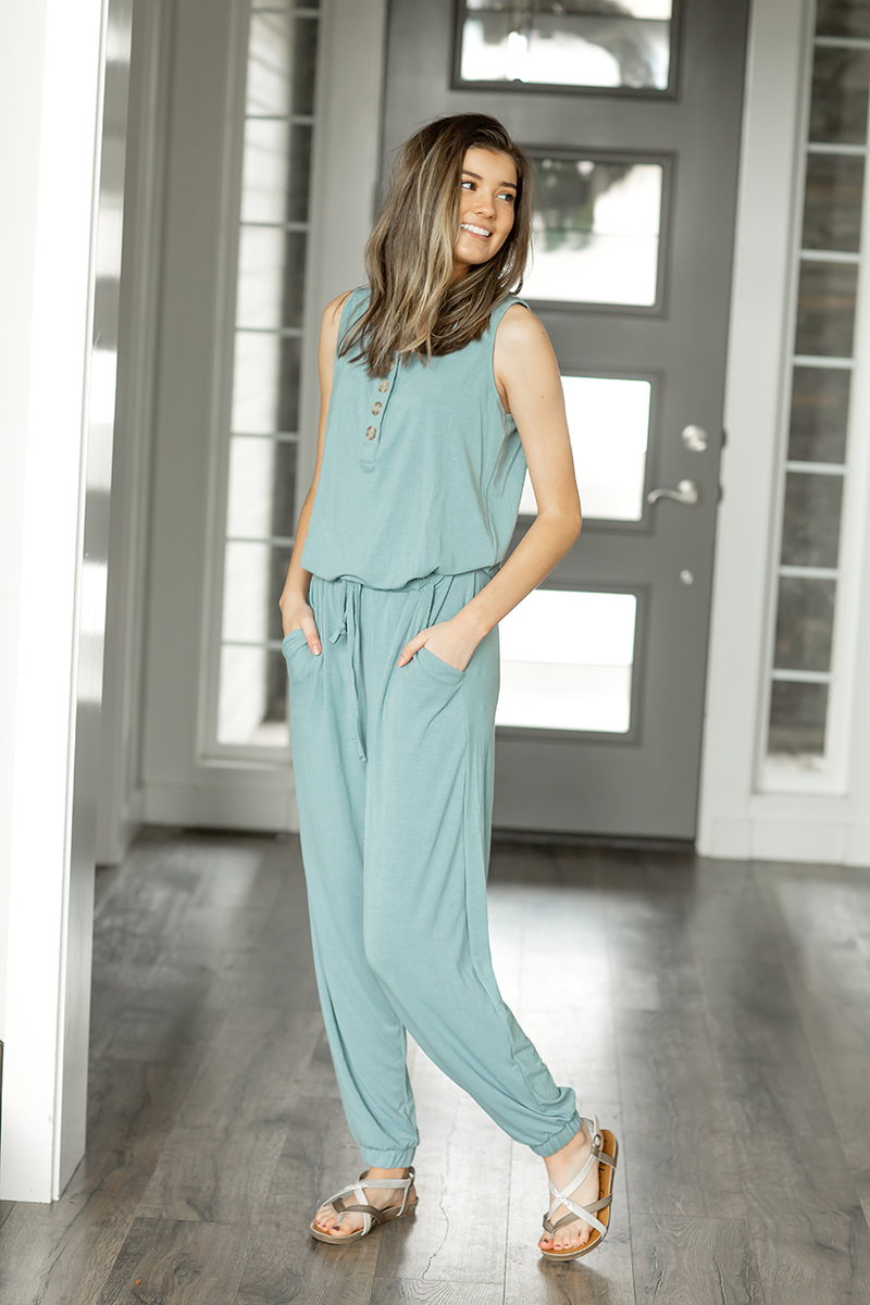 All In Jumpsuit in Pale Blue