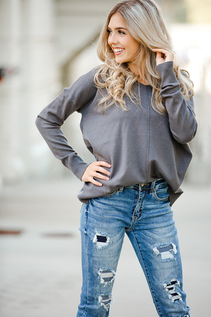 Out Back Pullover Sweater in Charcoal Gray