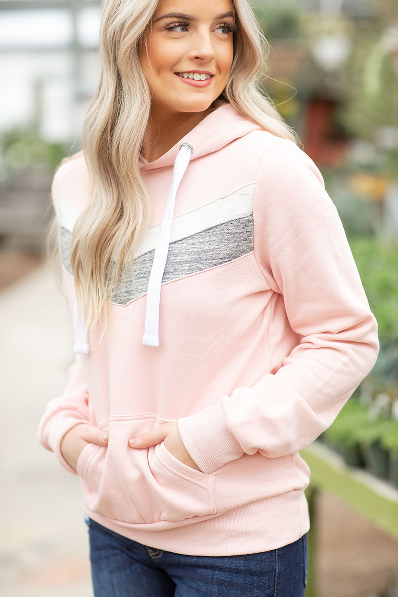 Weekend Retreat Accented Hoodie in Blush