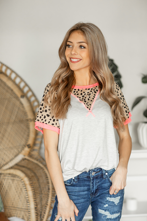 We Respond Animal Print Tee in Heather Gray
