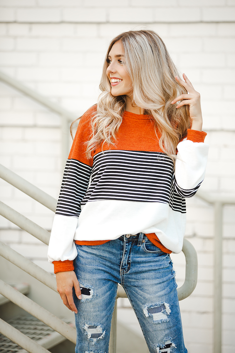 Fall Nights Rust and White Sweater with Stripes