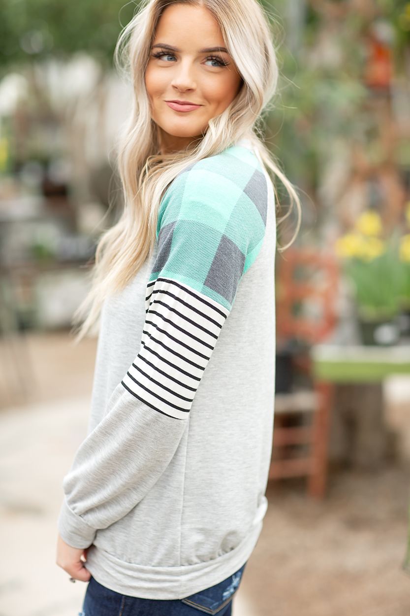 Fun Times Top with Plaid and Striped Sleeves in Gray and Mint