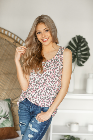 Can't Breathe Without You Animal Print Tank Top in Ivory