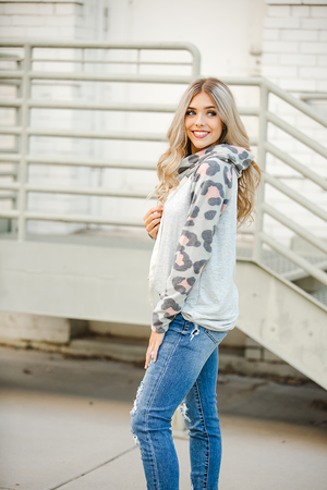 Stayin Alive Cowl Neck in Gray and Animal Print
