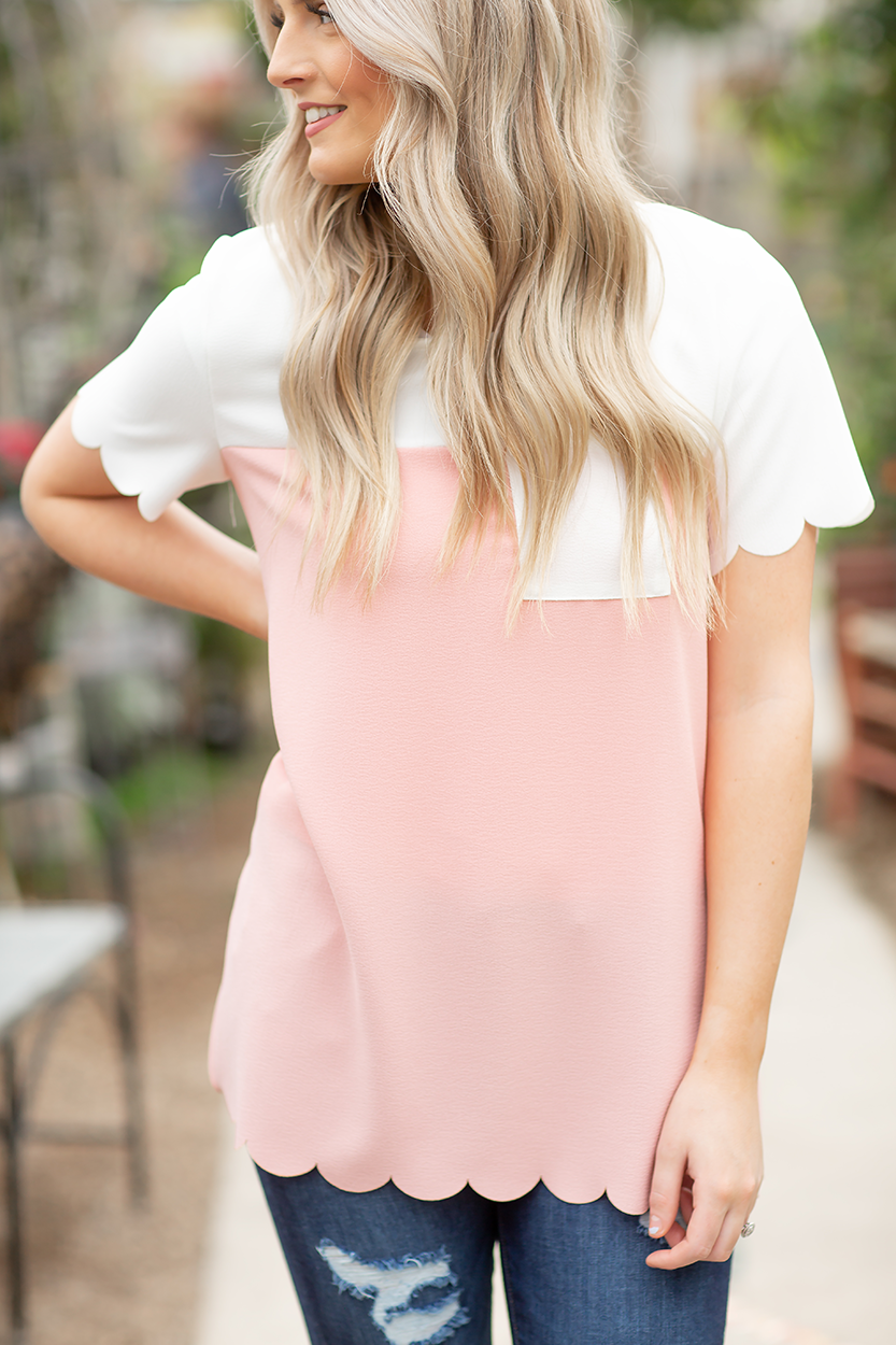 Secret Love Scalloped Top in White and Pink