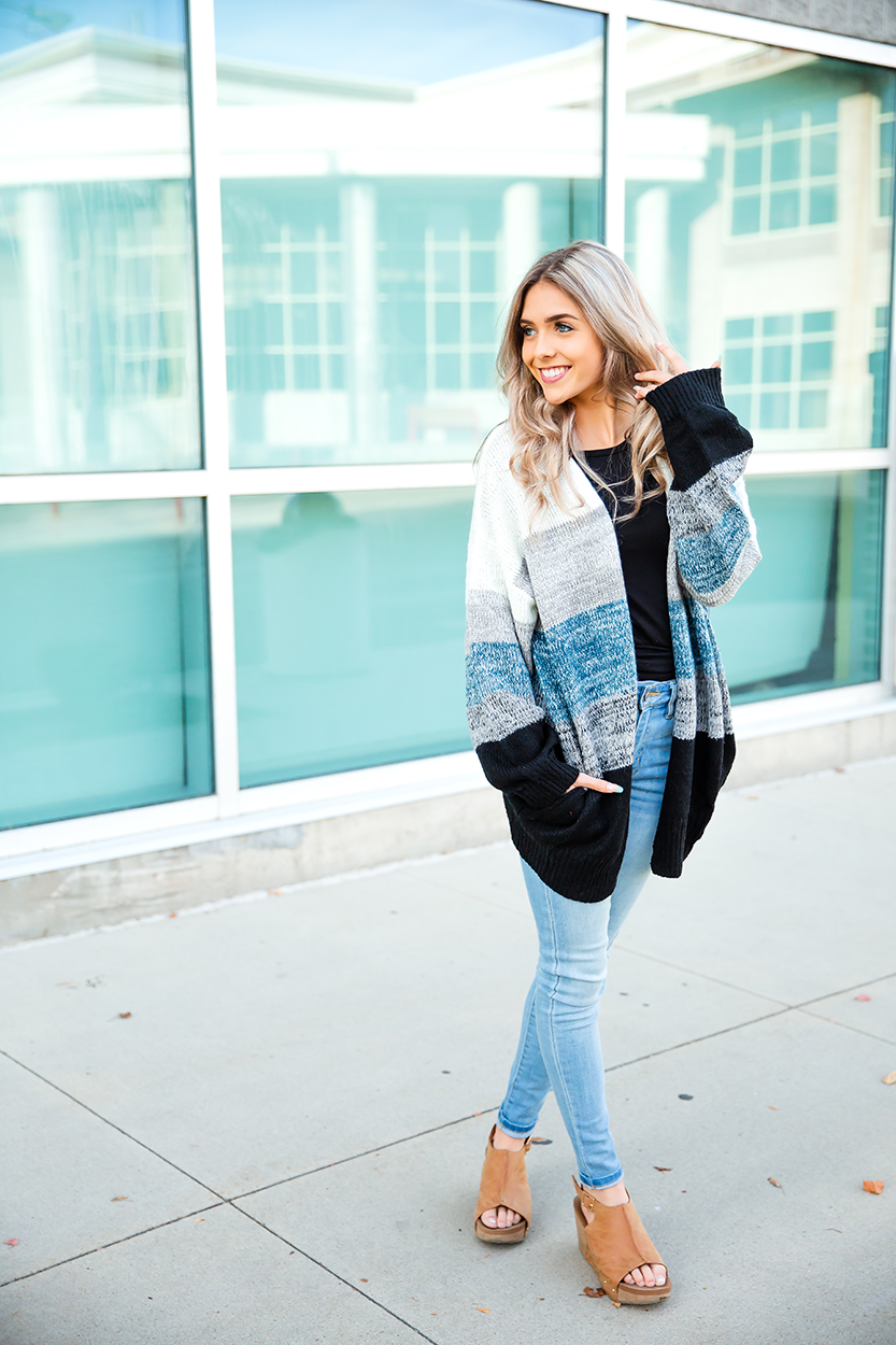 Late Nights Open Knit Cardigan in Cream, Gray, Teal, and Black