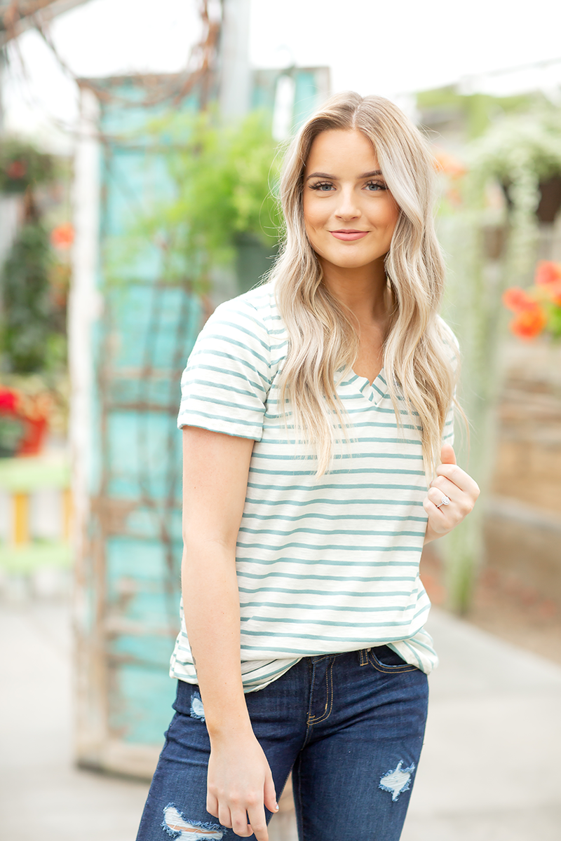 Enjoy the Ride Striped Top in Cream and Mint