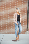 Working Overtime Tan Blazer Cardigan