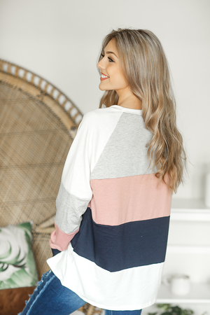 Coming in Between Color Block Top in Dusty Mauve, Gray, and Black