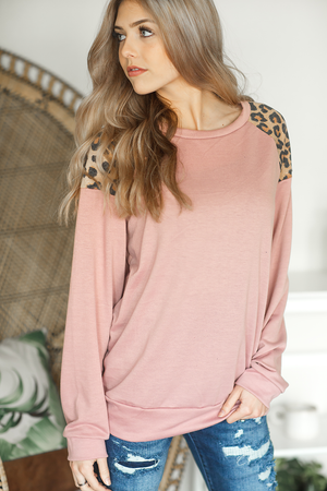 I Will Soar Animal Print Sweater in Dusty Mauve