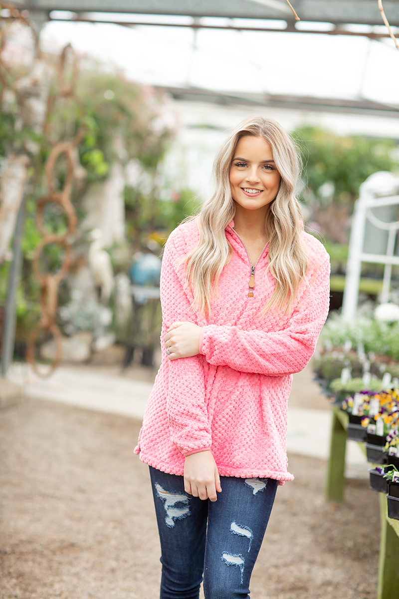 Right Direction Quarter Zip Top in Pink