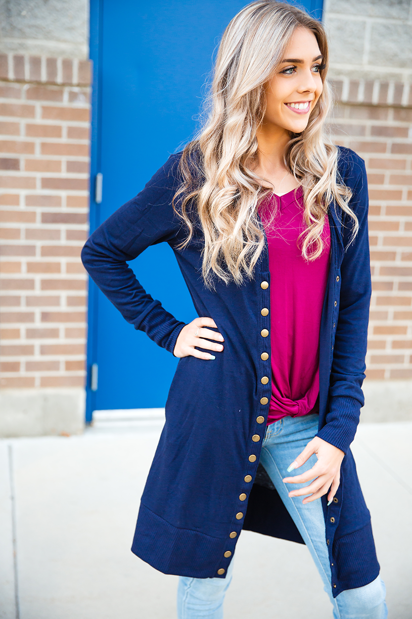 Sweet and Sassy Duster Cardigan in Navy