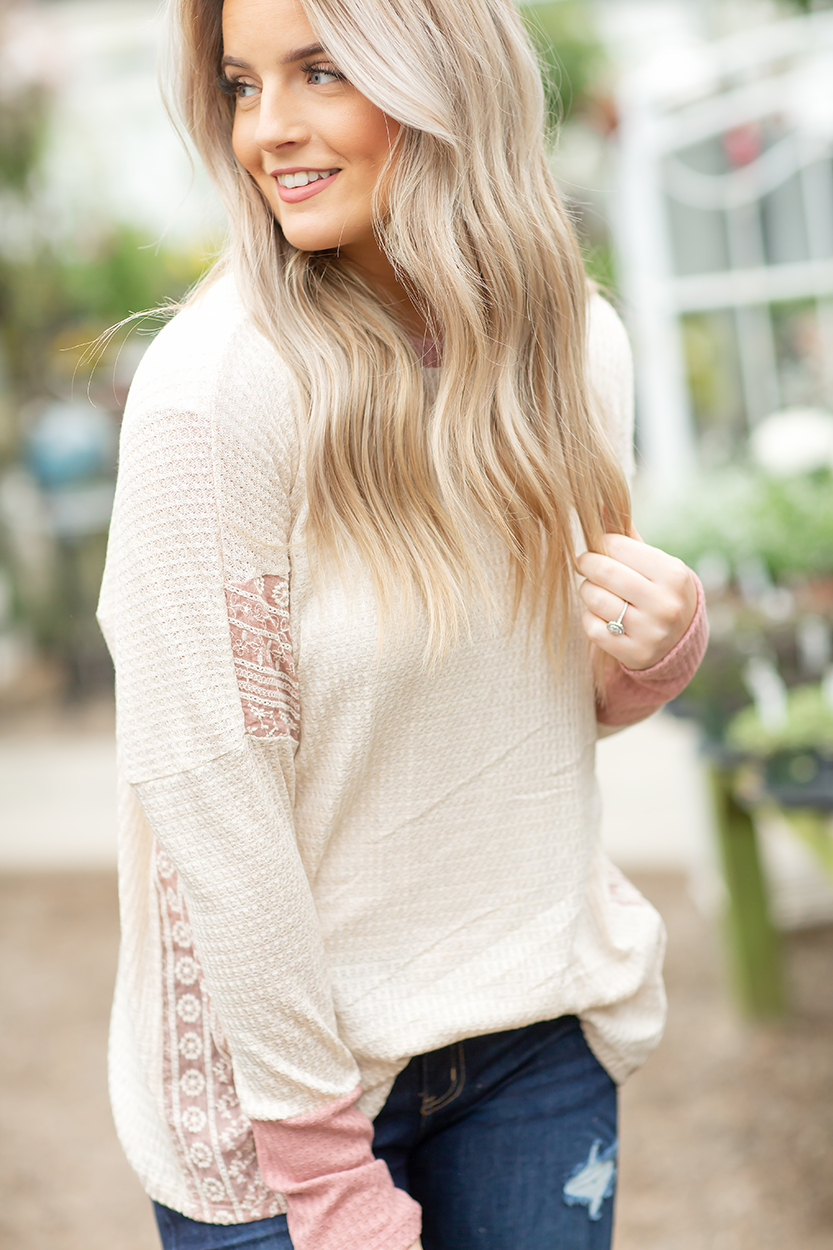 Say Hello Top with Lace in Oatmeal and Mauve