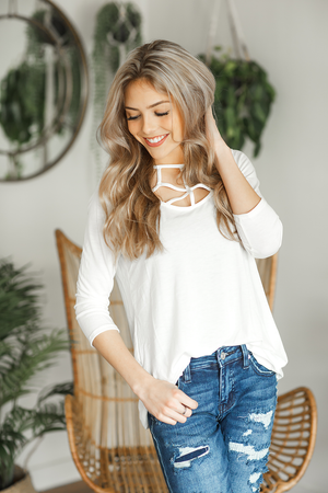 Good Time Criss Cross Top in Ivory