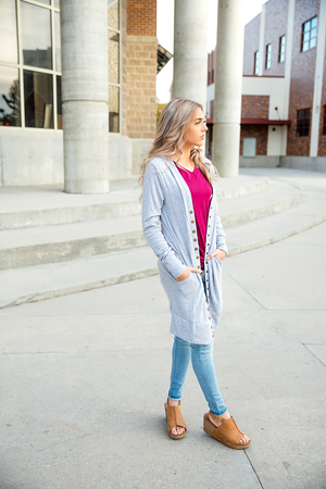 Better Than Ever Snap Duster Cardigan in Heather Gray