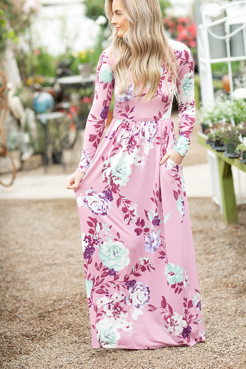 Floral Dreaming  Floral Maxi Dress in Pink